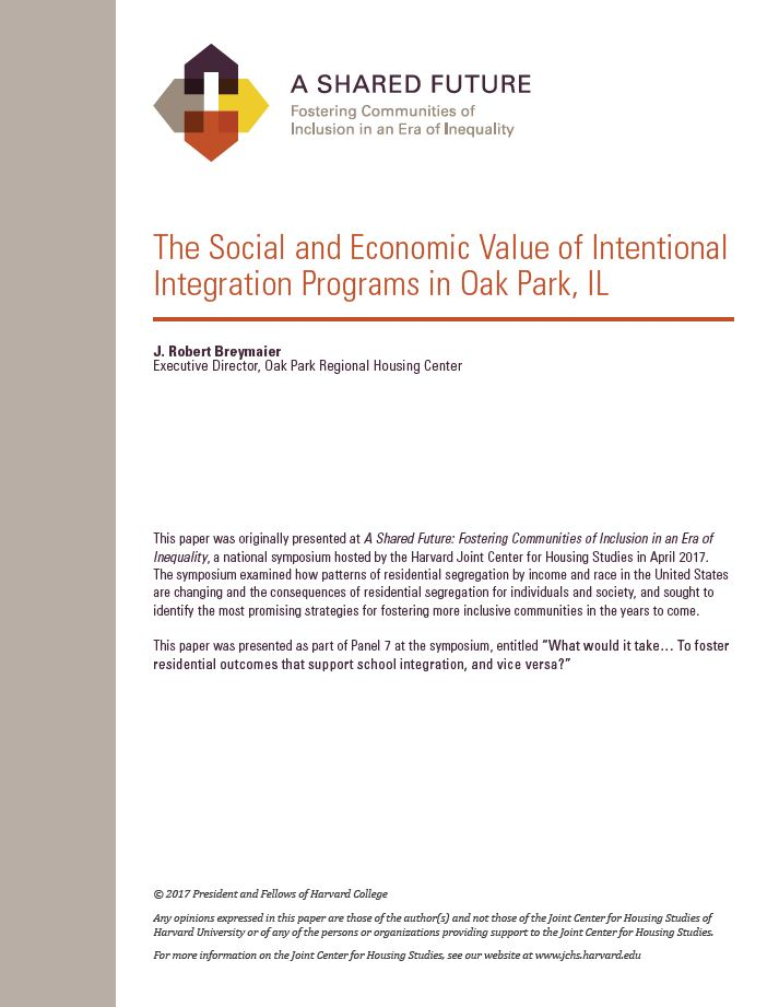 A Shared Future: The Social and Economic Value of Intentional Integration Programs in Oak Park, IL