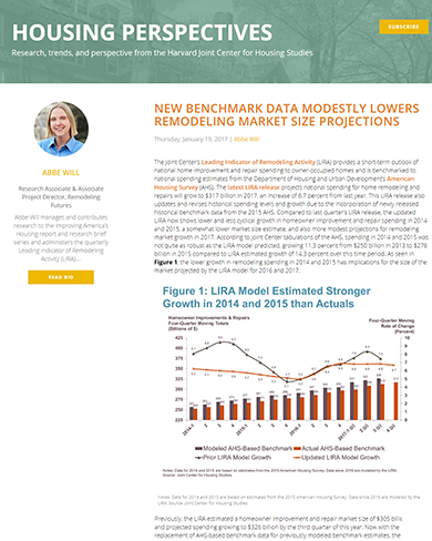 New Benchmark Data Modestly Lowers Remodeling Market Size Projections