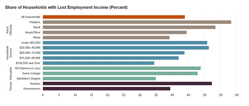 The figure is a bar chart showing the share of households who lost employment income as a result of COVID-19 by several demographic characteristics. Overall, 44 percent of households lost employment income. The share is highest among minority (especially Black and Hispanic), low-income, lower-education, and renter households. Links to a larger version of the same image.