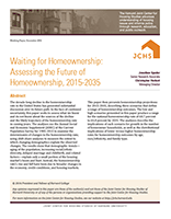 Waiting for Homeownership: Assessing the Future of Homeownership, 2015-2035