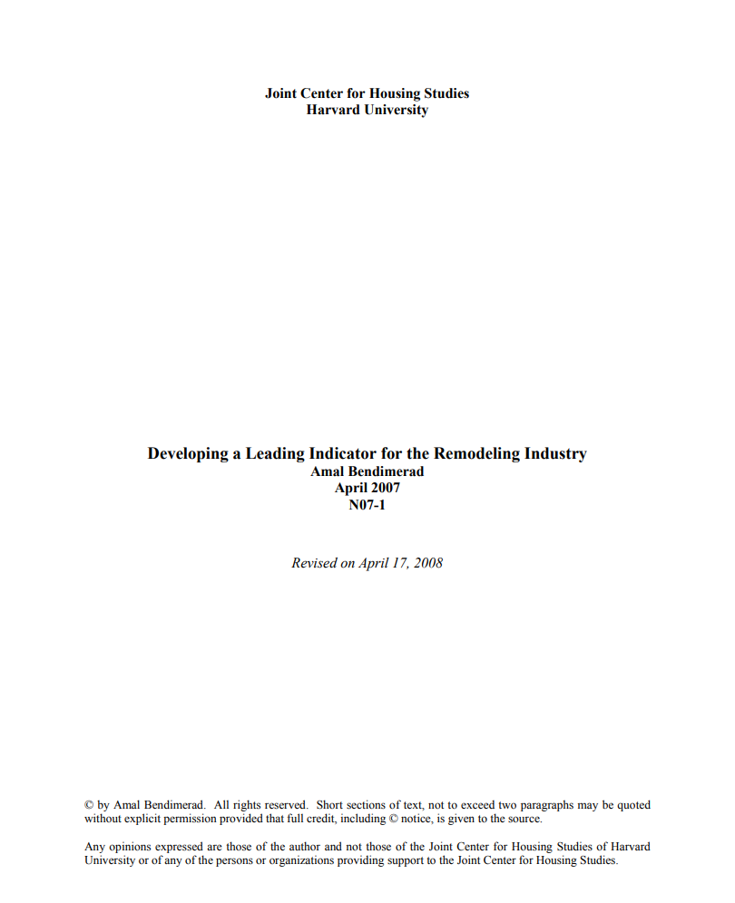Developing a Leading Indicator for the Remodeling Industry
