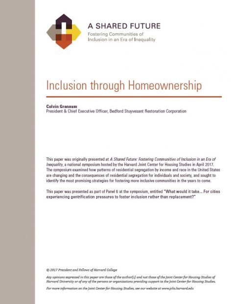 A SHARED FUTURE: INCLUSION THROUGH HOMEOWNERSHIP