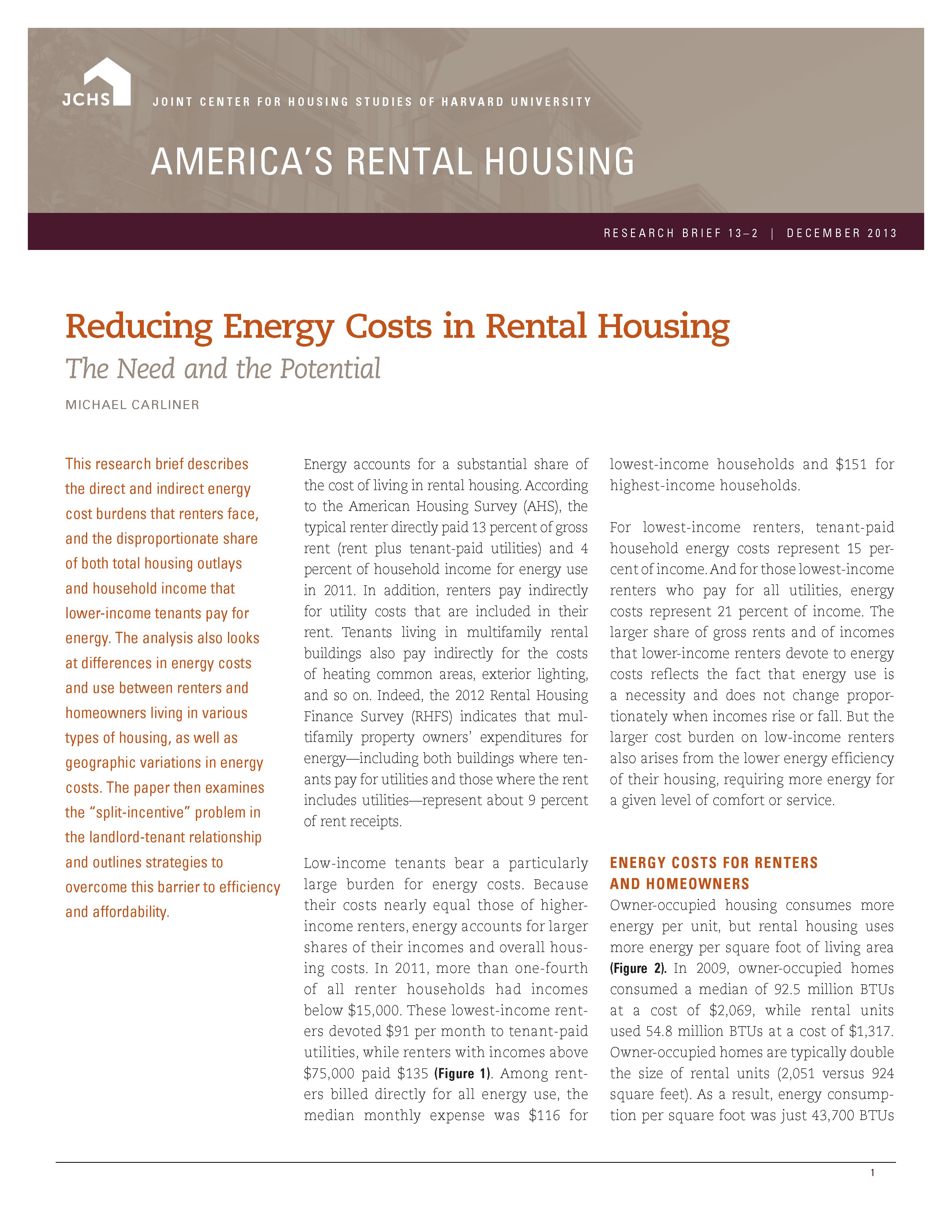 Reducing Energy Costs in Rental Housing
