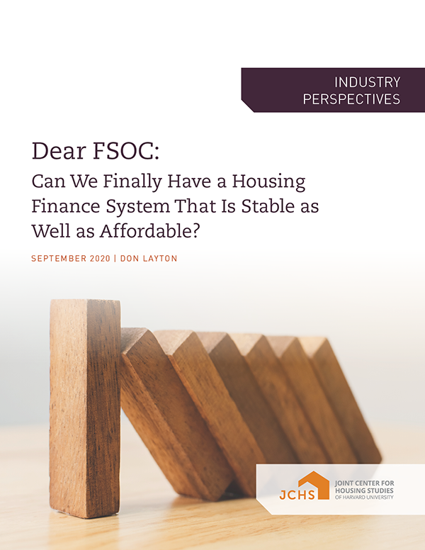 Dear FSOC: Can We Finally Have a Housing Finance System That Is Stable as Well as Affordable?