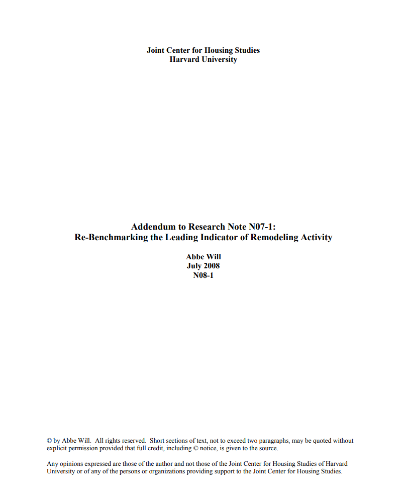 Addendum to Research Note N07-1: Re-Benchmarking the Leading Indicator of Remodeling Activity