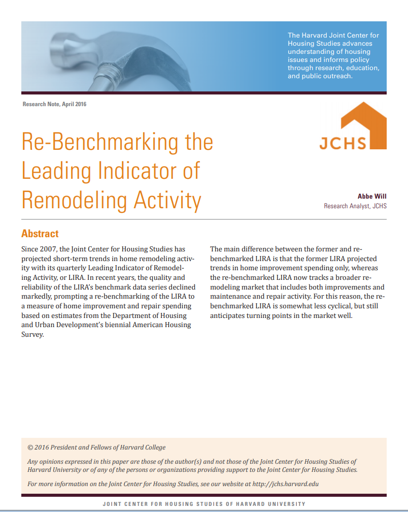 Re-Benchmarking the Leading Indicator of Remodeling Activity