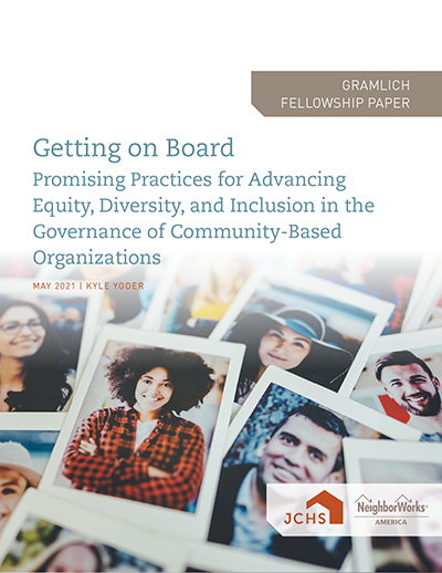 "Cover of the paper ""Getting On Board: Promising Practices for Advancing Equity, Diversity, and Inclusion in the Governance of Community-Based Organizations."""