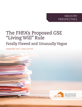 "Cover of the paper ""The FHFA's Proposed GSE 'Living Will' Rule"""