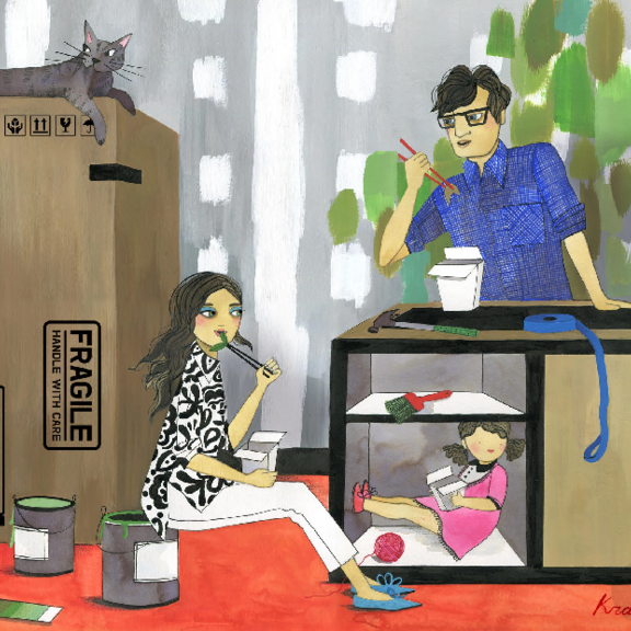 Graphic illustration of family eating alongside moving boxes.