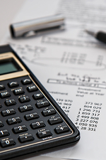 Calculator and financial documents