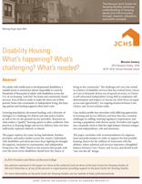 Disability Housing: What's happening? What's challenging? What's needed?