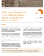 Challenges and Opportunities in Creating Healthy Homes: Helping Consumers Make Informed Decisions